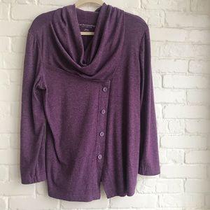 Soft Surrounds Purple Comfy Long Sleeve Button Top